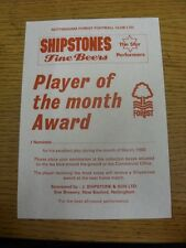 Mar-1988 Nottingham Forest: Player Of The Month Award, Unused Form To Nominate Y