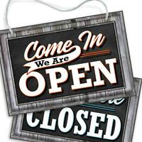 Open Closed Sign for Business Door | Reversible Double Sided with Rope