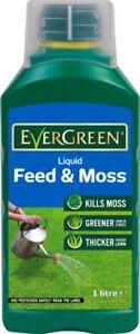 Evergreen Liquid Lawn Turf Feed & Moss Killer Treatment Greener Thicker Grass 1L