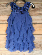 BISCOTTI Girls Dress Blue Tulle Ruffle Flower Crystals 4 Wedding Party SIZE 12