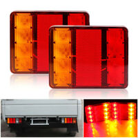 2X 12V Trailer Tail Light 8 LED Truck Red Stop Turn Brake Lights Waterproof USA