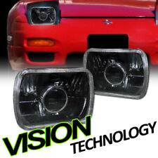 7X6 Blk Clear Glass Lens Projector Headlights Headlamps H4 H6052 H6054 H6014 Vd4