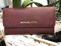 Michael Kors Jet Set Travel Saffiano Leather Trifold Wallet Merlot $198