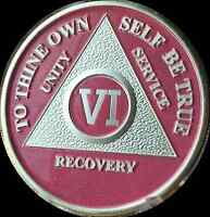 6 Year Pink Silver Plated AA Medallion Alcoholics Anonymous Sobriety Chip Coin