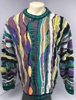 RARE 90s Vtg COOGI Australia NEON-BIGGIE-MCGREGOR sweater EUC FIRE L VAPORWAVE
