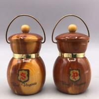 Vintage Wood Salt and Pepper Shaker Set West Virginia Souvenir