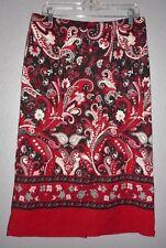 Christopher & Banks Dark Red Paisley Pencil Maxi Straight Skirt Size 10 Euc