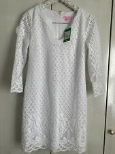 Lilly Pulitzer MARA SCALLOP HEM LACE DRESS White Size S NWT BRIDAL BABY SHOWER