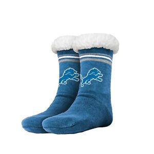 Detroit Lions Women's Stripe Logo Tall Footy Slippers - Size 6-10 NEW! Non Skid