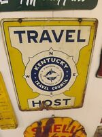 Vintage Double Sided Metal KENTUCKY Travel Host Chamber of Commerce Sign GAS OIL