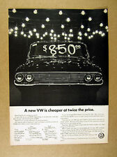 1965 Volkswagen used car lot 'A New VW is Cheaper at Twice the Price' print Ad