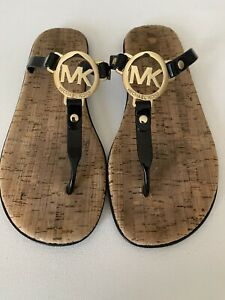 MICHAEL KORS Jelly Black PVC Cork Women's Size 8 M Sandals Thongs