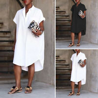 Womens Short Sleeve Asymmetric Hem Midi Dress Loose Plain Formal Shirt Dress UK