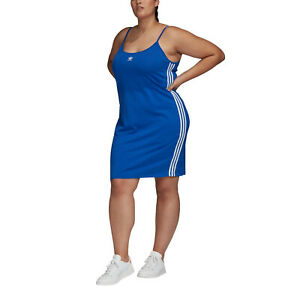 adidas Originals Women's Spaghetti Strap Plus Size Tank Dress Royal Blue XL UK22