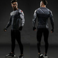 Winter Soldier Men Superhero Compression Long Short T-shirt Gym Jersey Layer Tee