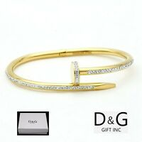 "DG Women's 6.5"" Stainless Steel,Gold Round Nail Bangle,CZ Bracelet*Unisex**Box"