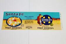 VINTAGE 1960S SANTA FE FOODS BRAND FRUIT COCKTAIL PAPER  LABEL NATIVE