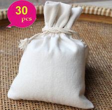 30x DIY Canvas Blank Drawstring bags Gift Wedding Party Favor Storage Organizer
