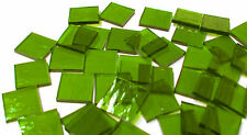 """110 Mosaic Tiles 1/2"""" Bright Lime Green Cathedral Transparent Stained Glass"""