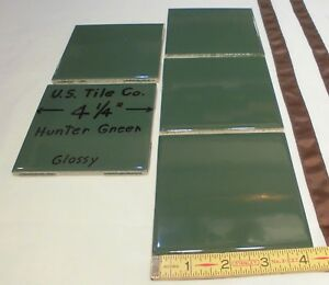 """5 pcs. Glossy Ceramic Tiles *Hunter Green* 4-1/4""""  From the 1990's  Made U.S.A."""