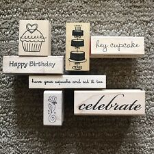 Lot Of 7 Birthday Celebration Cupcakes & Cake Rubber Stamps