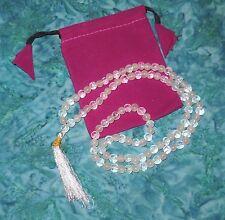 Rose & Clear Quartz Prayer Mala & Drawstring pink bag set NEW Healing 7mm beads