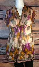 H&M Wm Sz 4 Semi Sheer Blouse Top Elastic Smocked Watercolor Orange/Purple/Brown
