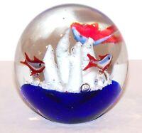 """STUNNING MURANO ART GLASS AQUARIUM COBALT WHITE CORAL FISH 3 1/2"""" PAPERWEIGHT"""