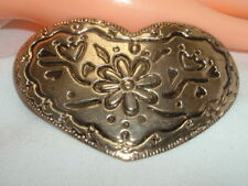 VINTAGE LARGE FLORAL HEART GOLDTONE HAIR BARRETTE