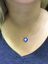 14K Yellow Gold Lapis Lazuli Turquoise And Diamond Octagon Pendant Necklace