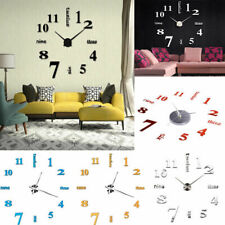 Modern DIY Large Wall Clock 3D Mirror Surface Sticker Home Office Room Decor UK