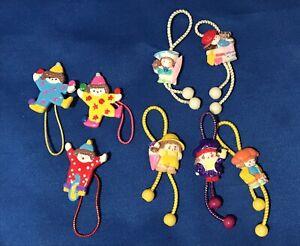 Vintage lot of 8 Elastic Ponytail Holders Plastic Clowns Girl Dolls Hair Ties