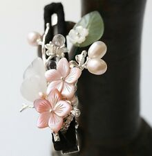 Oriental classic style handmade apricot blossom hairclip with jade petal