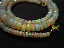 """63 Ct 18"""" Awesome Fire Ethiopian Opal Faceted Beads Necklace CJ30"""