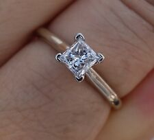 .49ct F/Si3 Princess diamond solitaire engagement ring 14k WG
