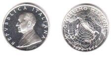 1974 Italia Lire 500 Guglielmo Marconi in Argento Fior di Conio Unc