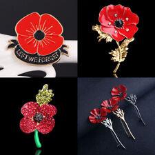 Enamel Red Poppy Suit Scarf Shawl Brooch Pin Lapel Collar Bouquet Charm Jewelry
