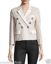 $9,195 New Versace Three-Quarter Sleeve Leather Embellished Jacket 38