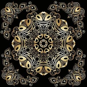 Ethnic Golden Mandala Tile Stickers for 6x6 Inches 4x4 and 3x3 tiles ma34