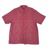 Tommy Bahama Silk Button Up Shirt Men's Size XL Light Red Short Sleeve Hawaiian