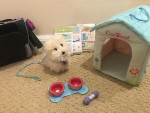 American Girl Doll Coconut Dog and Travel Accessories