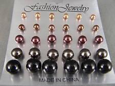 Set of 15 pair faux pearl graduated bead stud post earrings Camel Brown Black
