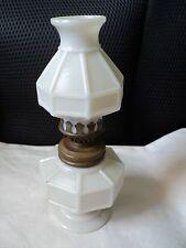 Early Miniature Kerosene Lamp - Milk White Glass