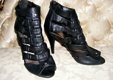 "CHARLOTTE RUSSE GLADIATOR, Black Caged High Heels 4"" high Zip-rear opening, Sz 9"