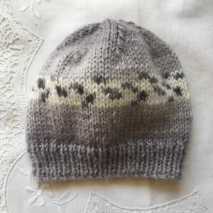 * New Born Plus * Baby Beanie * (Warm) * Grey & White * Aust Hand Knitted