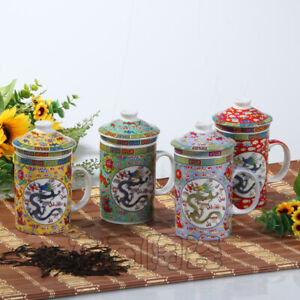 NEW Chinese Dragon Ceramic Porcelain Tea Cup Coffee Mug with Infuser&lid 300ML