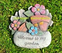 NEW DESIGN RUBBER LATEX MOULD MOLD MOULDS WELCOME TO MY GARDEN WALL PLAQUE #1