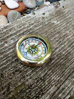 Boussole de poche en laiton brillant neuve diamètre 4,5cm idéale ballade rando.