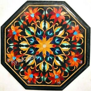 Semi Precious Stone Inlay Work Coffee Table Top Black  Marble End Table 14 Inch