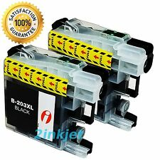 2pk LC-203 LC203 XL Black Ink For Brother MFC-J460dw MFC-J480dw MFC-J485dw LC201
